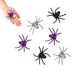 Spinnen glitter 6 stuks