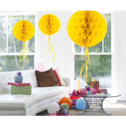 Decoratie bal geel 30 cm