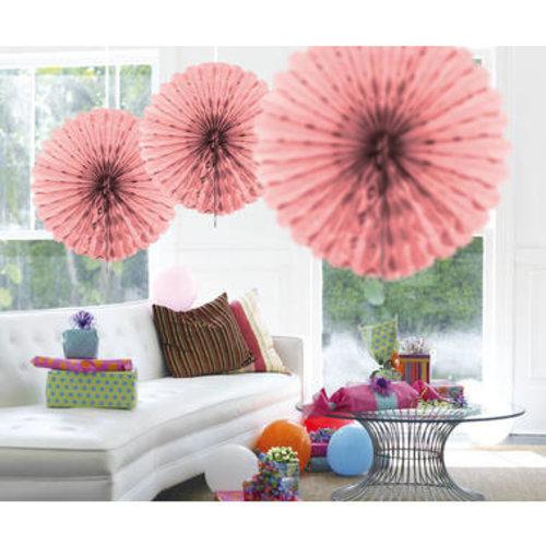 Decoratie waaier roze 45 cm