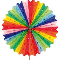 Decoratie waaier regenboog 45 cm