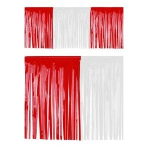 PartyXplosion Franje slinger pvc rood-wit 6 m brandveilig