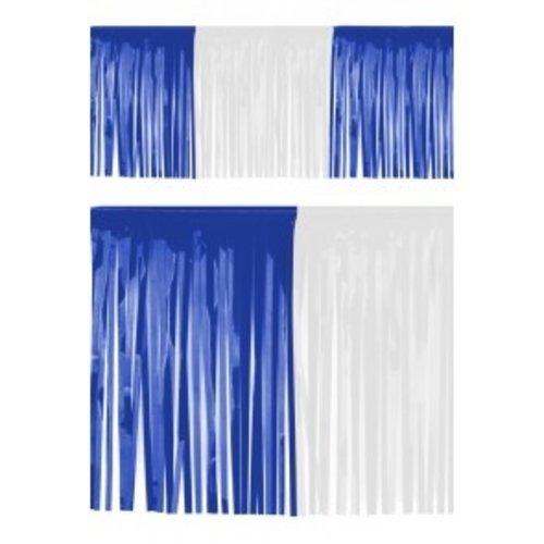 PartyXplosion Franje slinger pvc blauw-wit 6 m brandveilig