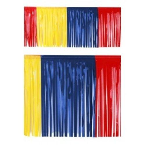 PartyXplosion Franje slinger pvc rood-geel-blauw 6 m brandveilig