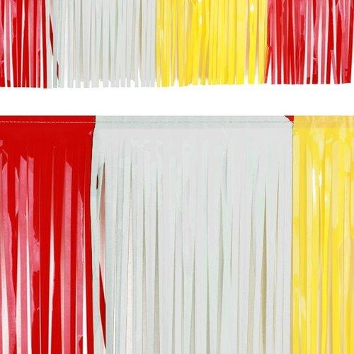 PartyXplosion Franje slinger pvc rood-wit-geel 6 m brandveilig