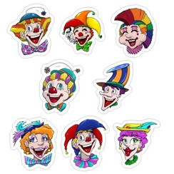Muurstickers clowns  8 stuks