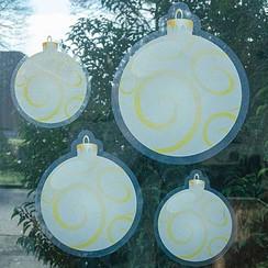 Raamsticker statisch kerstballen set van 4