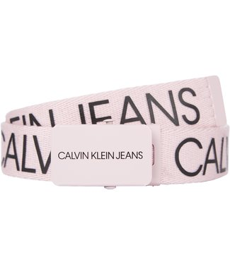 Calvin Klein CANVAS LOGO BELT Rose Marble