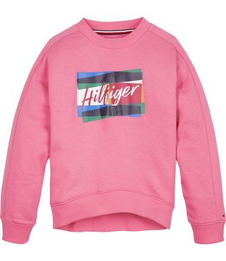 Tommy Hilfiger FUN FLAG CREW SWEATER GLAMOUR PINK