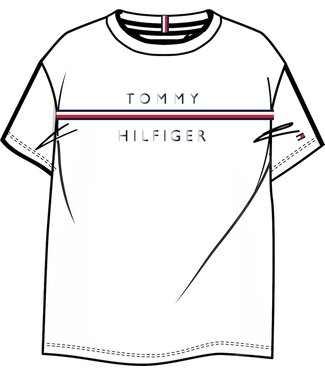 Tommy Hilfiger FLAG TAPE TEE S/S WHITE
