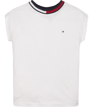 Tommy Hilfiger MESH KNIT TOP S/S WHITE