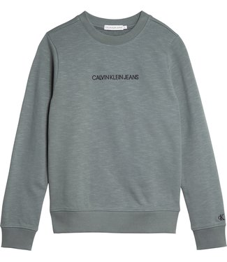 Calvin Klein EMBROIDERED LOGO SWEATER  Forest Grey
