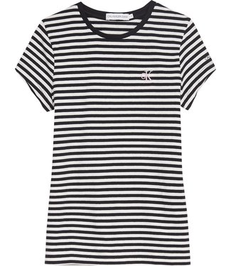 Calvin Klein STRIPE CK SLIM T-SHIRT Bright White CK Black