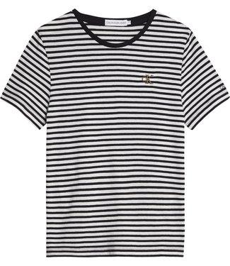 Calvin Klein STRIPE CK T-SHIRT  Bright White CK Black