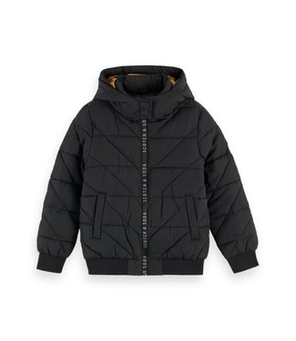 Scotch & Soda Hooded jacket with padding and branded zipper black