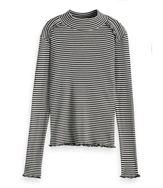 Scotch & Soda Fitted long sleeve tee in yarn dyed stripes combo Z