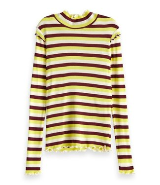 Scotch & Soda Fitted long sleeve tee in yarn dyed stripes combo Y
