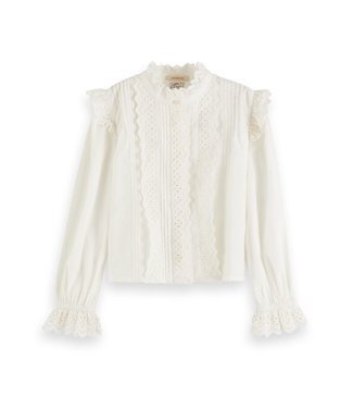 Scotch & Soda Crispy cotton top with broderie anglaise details white
