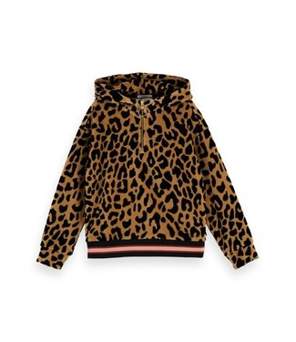 Scotch & Soda Oversized half-zip velour leopard hoody combo L