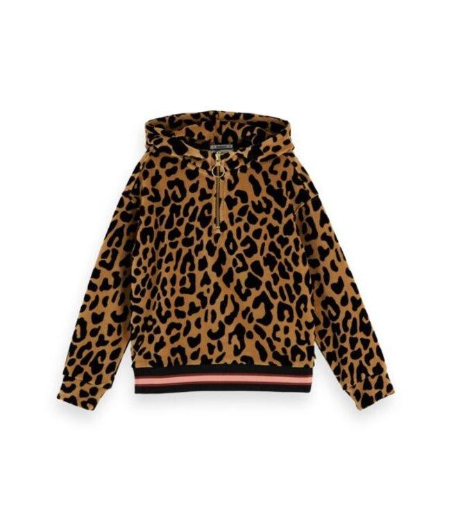 Scotch & Soda Oversized half-zip velour leopard hoody combo L