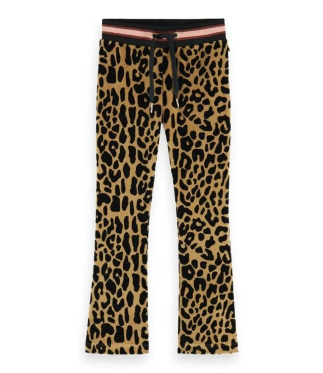 Scotch & Soda Leopard all-over printed velvet flare pants combo L