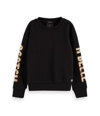 Scotch & Soda Shorter length sweat with artworks black