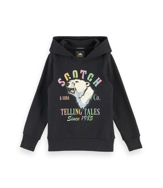 Scotch & Soda Hoody with oversized artwork in organic cotton quality black