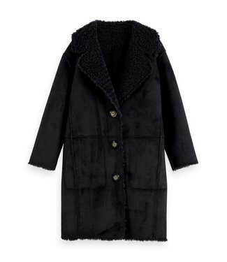 Scotch & Soda Long length reversible teddy jacket night