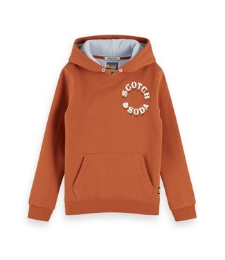 Scotch & Soda Hoody in two-tone quality with artworks burnt orange