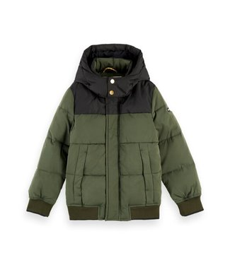 Scotch & Soda Hooded jacket with padding and contrast yokes military