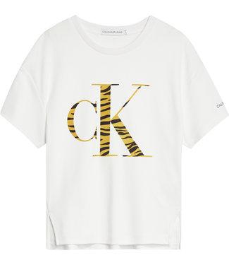 Calvin Klein URBAN ANIMAL CK FLOCK TEE Bright White