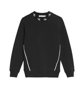 Calvin Klein MONOGRAM STRETCH SWEATER BLACK