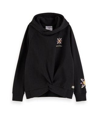 Scotch & Soda Hoody with knotted bottom hem and  placed artworks black