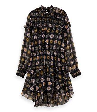 Scotch & Soda Drapey ruffle dress with AOP combo E