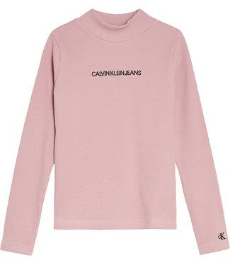Calvin Klein RIB LS MOCK NECK T-SHIRT Soothing Pink