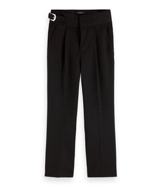 Scotch & Soda Relaxed fit tailored pant with western buckle detail black
