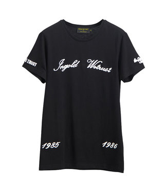 In Gold We Trust Chain Embroidery T-Shirt black