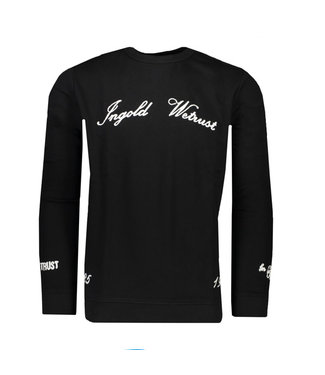 In Gold We Trust Chain Embroidery Crewneck black
