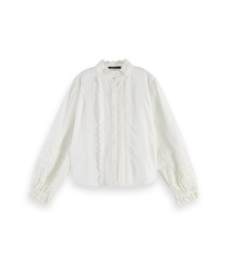 Scotch & Soda Crispy cotton top offwhite