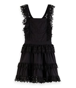 Scotch & Soda Cotton brodery dress open back black