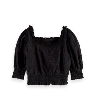 Scotch & Soda Cropped brodery top puffy sleeves black