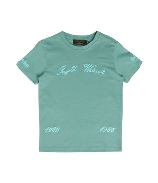 In Gold We Trust Chain Embroidery T-Shirt oil blue