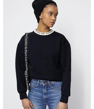 Les Coyotes de Paris Bique sweater logo neck rib black