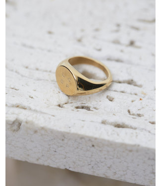 Les Coyotes de Paris Mila gold-plated stainless steel logo ring