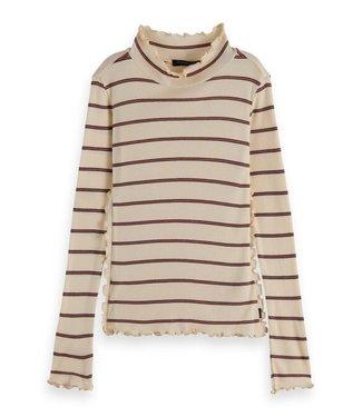 Scotch & Soda Ls yarn-dyed striped ruffle T-shirt combo A