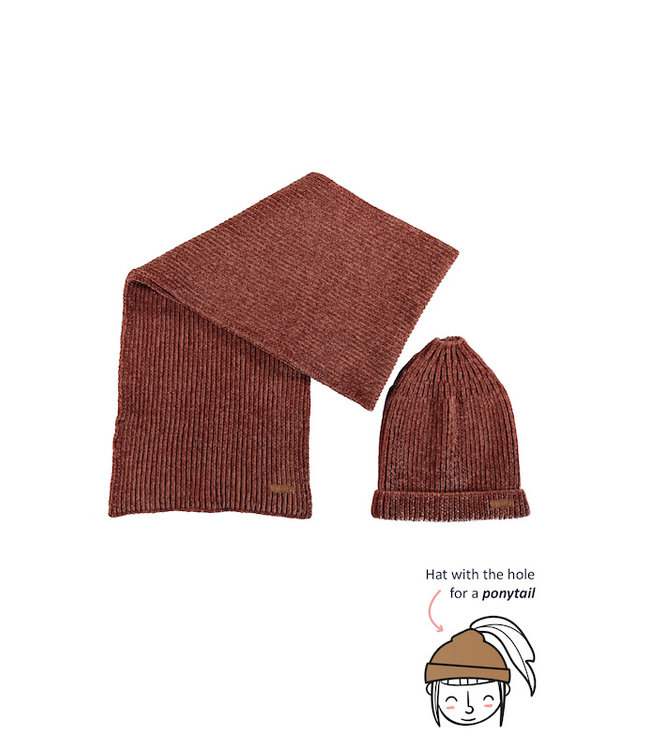 NONO Raya knitted scarf and hat set chenille yarn puppy