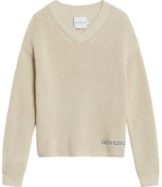 Calvin Klein V NECK LUREX SWEATER MUSLIN