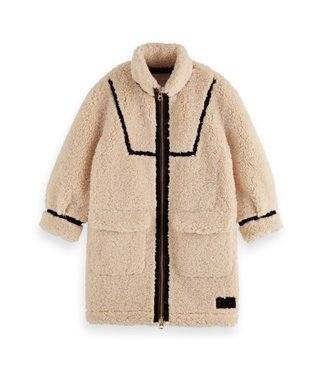 Scotch & Soda Longer-length teddy coat offwhite