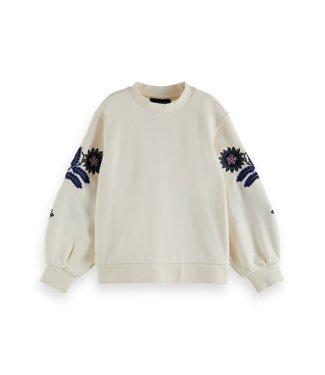 Scotch & Soda Embroidered  sweatshirt offwhite