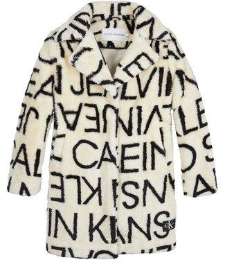 Calvin Klein LOGO AOP COAT WHITECAP