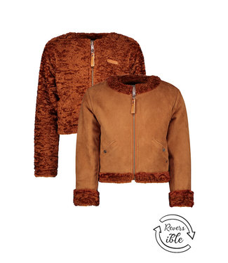 NONO Delif vest fake suede+velvet fur caramel